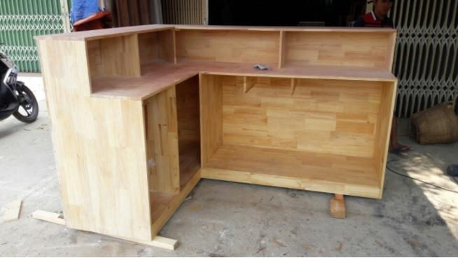 Đóng quầy bar cafe gỗ tự nhiên mẫu BQ03